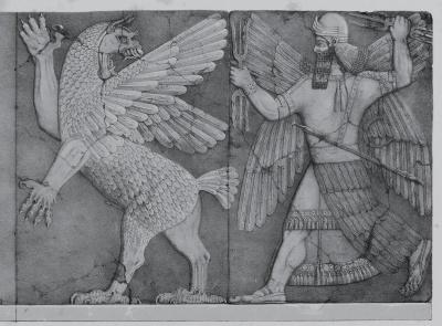 Lucha entre Tiamat y Marduk